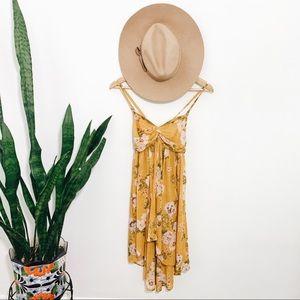 🌻FREE PEOPLE Mirage Hi-Low Yellow Floral Tunic